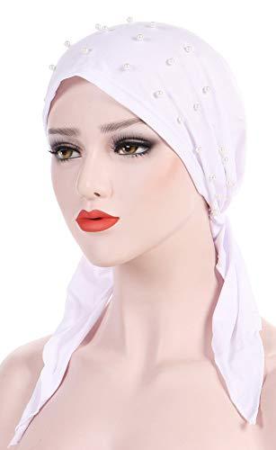 Ababalaya Women's Soft Breathable Pre-Tied Beads Solid Chemo Bandana Muslim Turban Tichel,Black+White+Gray by Ababalaya (Image #1)