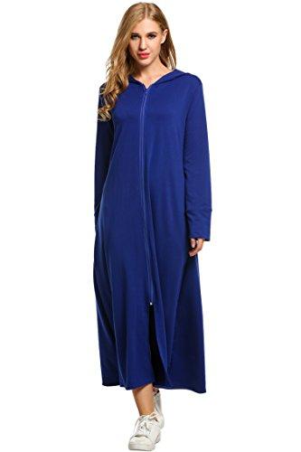 Meaneor Women Plus Size Long UltraSoft Fleece Hoodie Robe, Blue, Large Hooded Caftan
