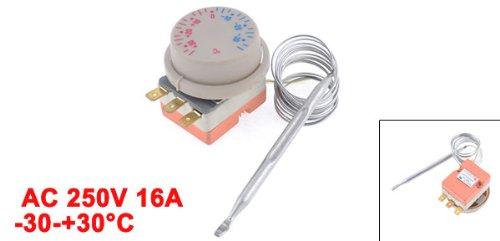 sourcingmap Dispositif de retenue de chaleur pour réfrigérateur -30-+30C Ajustable Température Interrupteur Thermostat de Réfrigérateur AC 250V 16A