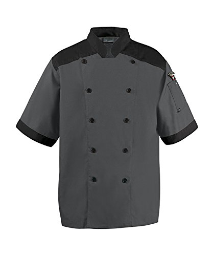 Happy Chef Top Vent Lightweight Chef Coat (XX-Large, Charcoal) by Happy Chef