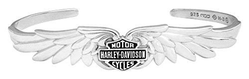 Harley-Davidson Womens Classic Double Wing B&S Cuff Bracelet, Silver HDB0384 (7) (Harley Davidson Silver Bracelet)