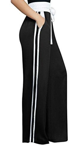Moda Pants Mujeres Pantalones De Playa Larga Alta Rayas Suelto Negro PWqnpI8