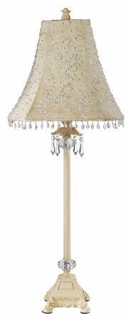 Jubilee Collection 8723-4200 Floral Bouquet on Base Shade with Crystal Dangle Glass Ball, Large, Ivory