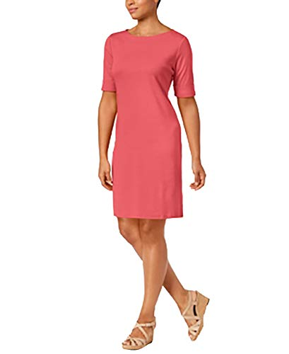 (Karen Scott Petite Cotton Boat-Neck Shift Dress (Peony Coral, Petite X-Small))