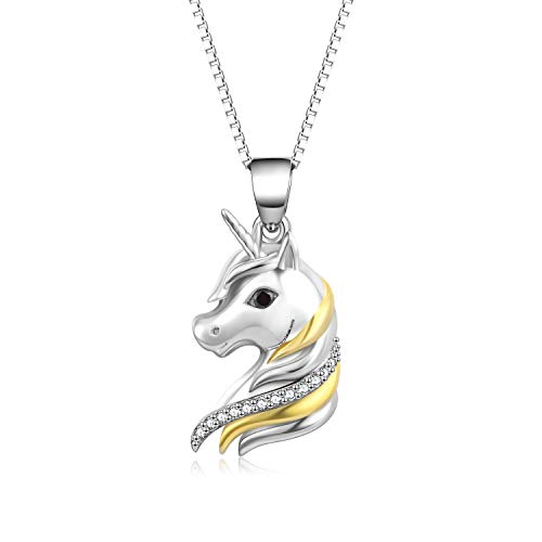 YFN Sterling Silver Unicorn Two-Tone Pendant Necklace for Women Girls (Silver Unicorn ()