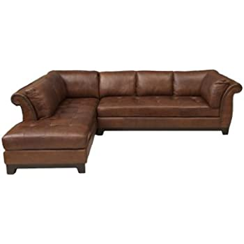 Elements Fine Corsario Top Grain Leather Sectional Bourbon 82.5 by 120 by 33-  sc 1 st  Amazon.com : 120 inch sectional sofa - Sectionals, Sofas & Couches
