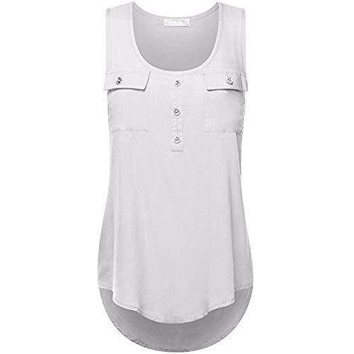 Tunics Top Summer,Women's Sleeveless Vest Casual T-Shirt Irregular Hem Blouse Plus Size Dress Camis Cardigan S-5XL White (Uniform Baseball Sleeveless)
