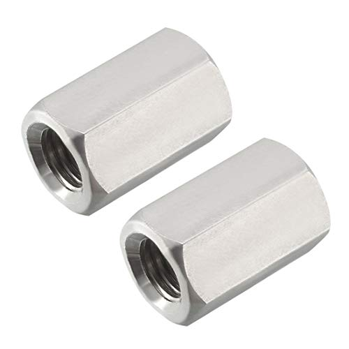 uxcell M12 X 1.75-Pitch 30mm Length 304 Stainless Steel Metric Hex Coupling Nut, -