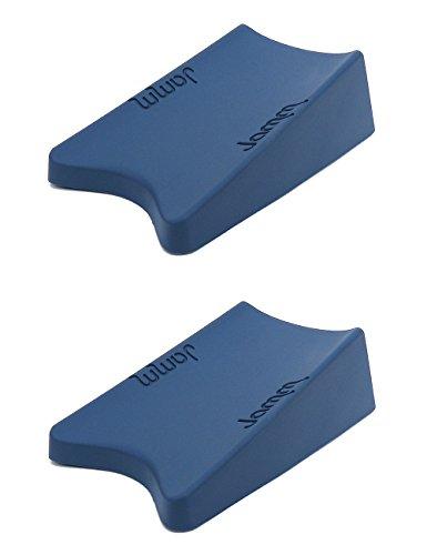 e Door Stopper, Door Stop Wedge For Large Door Gaps to Hold Doors in BOTH Directions, Premium Non Rubber Hardware Doorstop - Dusky Blue 2-pack (Blue Devils Satin)