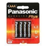 Panasonic AM-4PA/4B Alkalineplus AAA Batteries, 4 Pack (Black)