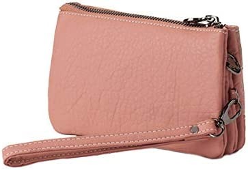 CAMINATTA Monedero Mujer Pouch Rosa Bolso De Mano Asa 3 Compartimentos Cartera Cierre Cremallera Gran Capacidad Fiesta Cuero PU Billetero Neceser ...