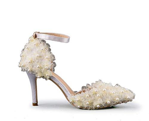 Reino Para Nupciales Elegante Mujer De 5 Correa Blancos color El Tobillo Zapatos Hhgold Boda 6 Flores Tamaño Unido Gasa O1Ctpq