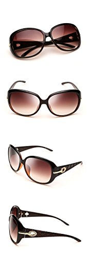 Duco Women's Shades Classic Oversized Polarized Sunglasses 100% UV Protection 6214 Brown Frame Brown Lens