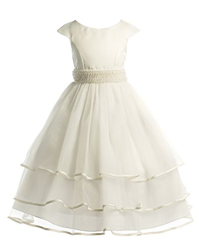 Joy Kids Big Girls Pearl Sash Tiered Special Occasion Com...