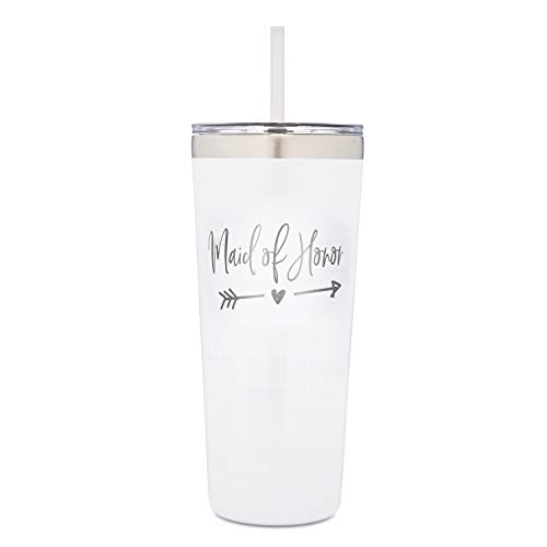 Maid of Honor Tumbler | 22 Ounce Stainless Steel Insulated Tumbler with Flip Top Lid and Straw for MOH | Bridal Party Favors | Wedding