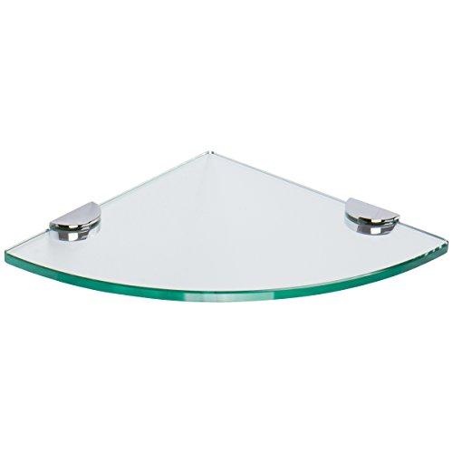 Ginger 0218CT-10-10/PC Sine Tempered Glass Corner Shelf, Polished Chrome