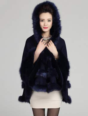 Blue Faux Wrap PLAER Dark Trim Women Winter Fur with Hooded Coat Cape Shawl 0pnB7qwnx