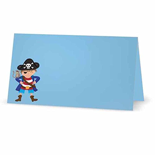 (Pirate Boy Place Cards - Tent Style - Blue Color Party Supplies - Any Occasion or)
