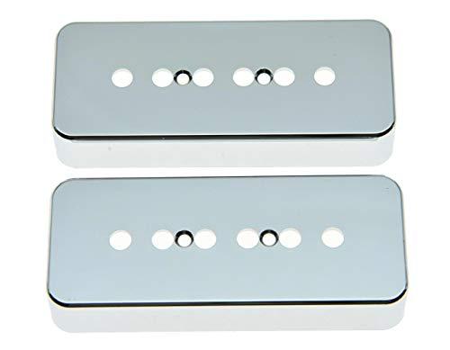 KAISH 2pcs Chrome 50mm Pole Plastic P90 Guitar Pickup Covers Soapbar Pickup Cover for Les Paul