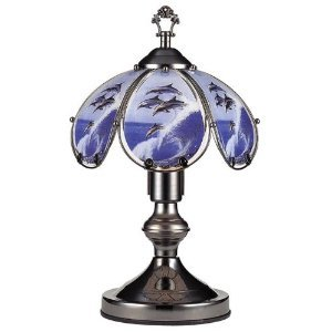 Glass Dolphin Leap Theme Black Chrome Base Touch Lamp 14.25''h