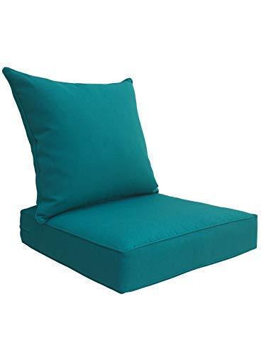SewKer] Indoor/Outdoor Patio Deep Seat Cushion Set Teal/Peacock Blue/Green (Cushions Seat Set Patio Deep)