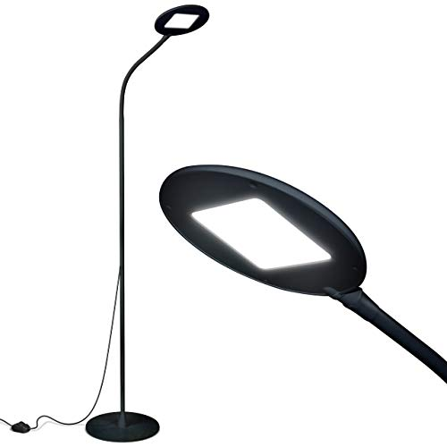 (Brightech Contour Flex LED Floor Lamp for Reading, Crafts & Office Tasks – Adjustable Gooseneck & Bright, Dimmable Light Goes Beside Living Room Sofa- Contemporary Minimalist Pole Light - Black)