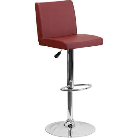burgundy-contemporary-vinyl-adjustable-height-barstool-with-mid-height-back-rest-and-chrome-base-set