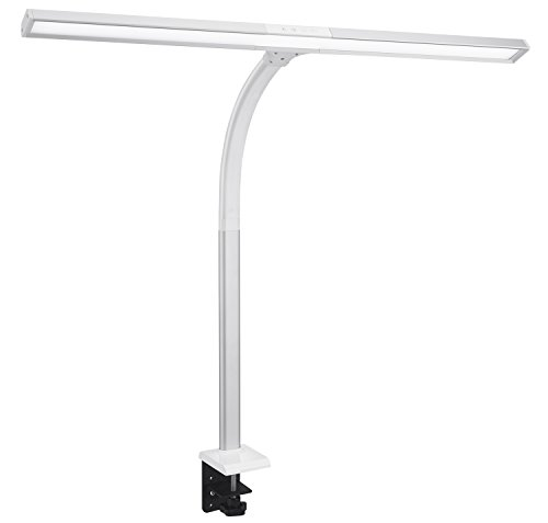Phive LED Task Lamp, 15 Watt Super Bright Desk Lamp with Clamp, Dimmable Gooseneck Monitor Lamp(4 Color Modes, 5-Level Dimmer, Memory Function, Highly Adjustable Office Light/Workbench Lamp) Silver by PHIVE