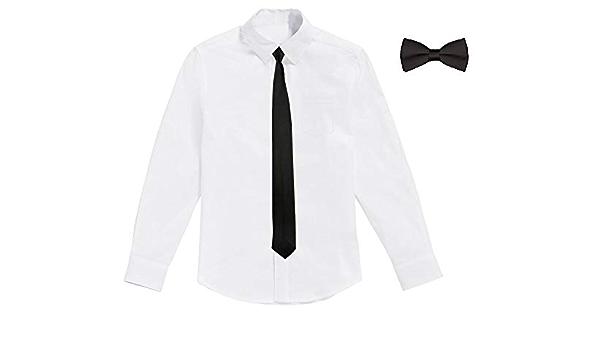 Classic Plus - Camisa Blanca de niño con Corbata y Pajarita ...