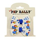 "University of Kansas KU Jayhawk team cheer hair-bows perfect for your little sports fan.   One size fits all. Officially licensed collegiate product.   Bows come attached to pinch metal alligator clips.   Size: 2"" width   Includes a matching pair ..."