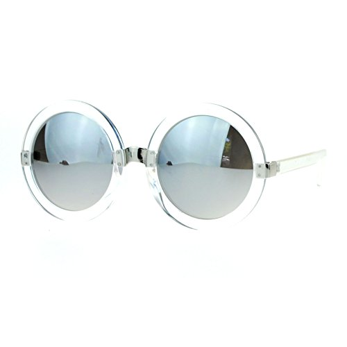 Womens Oversized Fashion Sunglasses Round Circle Frame Mirror Lens (clear, silver - Circle Oversized Mirror