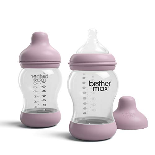 (Brother Max Baby Bottle, Anti-Colic Breast-Milk Feeding Bottle, Breast-Like Nipple for Natural Latch, BPA-Free Pink, 8oz 2)