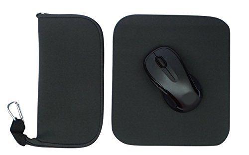 Classic Travel Mouse Case with Extra Super-thin Travel Mouse Pad (Charcoal Grey Solid) by The Buti-Bag Company