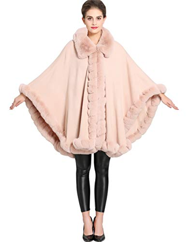 - Aphratti Women's Wrap Shawl Cape Coat with Luxury Faux Rex Rabbit Fur Collar Without Arm Slits One Size Mistyrose