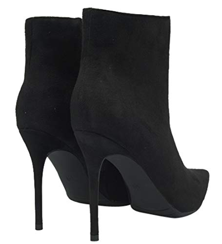 Bottines Grande Talons BIGTREE à Faux Mode Enfiler Taille Stiletto Bout Noir Classique Suède Chaussures Pointu Femmes AwfwCpnqx1