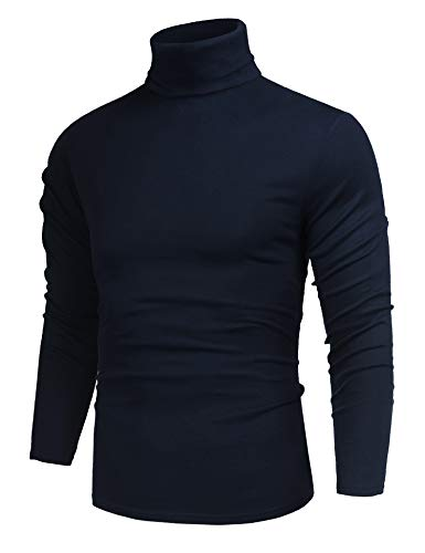 poriff Men's Casual Slim Fit Basic Tops Knitted Thermal Turtleneck Pullover Sweater Navy Blue L