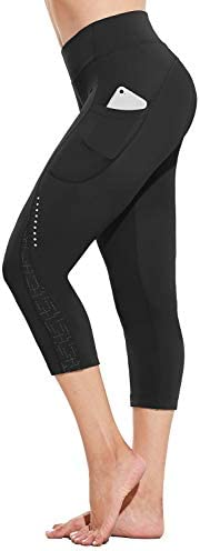 BALEAF Women's 4D Padded Cycling Pants Bike Capris Pocket Bicycle 3/4 Tights Breathable UP