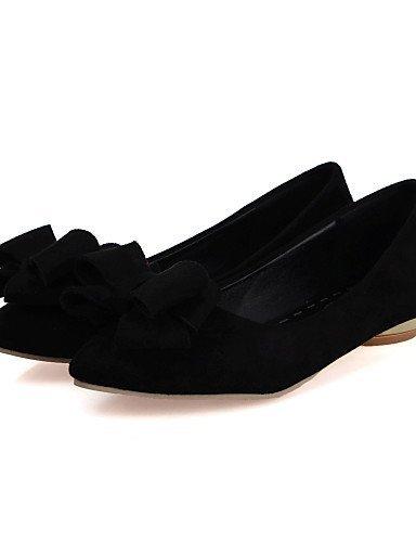 ShangYi Giallo Marrone pelle punta A Finta Casual Black Piatto Scarpe Nero Ballerine Donna Rosso TqxwvUTPr