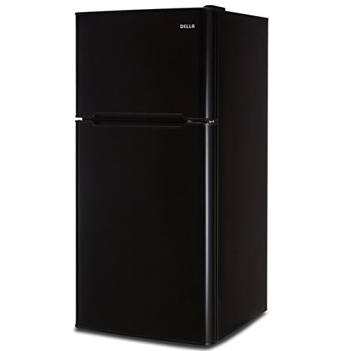 Della Compact Double Door Refrigerator and Freezer Cans Soda Drink Food, 4.5 Cubic Feet, Black