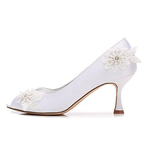L@YC Damen High Heel Perlen Blume Plattform Blume Hochzeit Braut Prom Abend Schuhe Größe Red