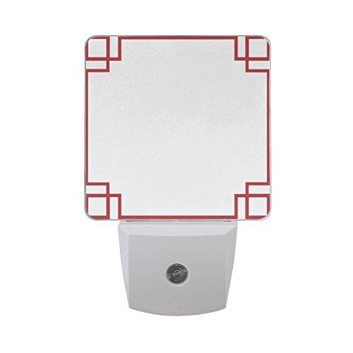 LEDVIE Red Border Plug in Dusk to Dawn Light Sensor LED Night Light Wall Light for Bedroom, Baby's Kids Room,Hallway, Stairs, Energy (Red Dawn Border)