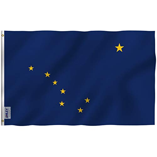 Anley Fly Breeze 3x5 Foot Alaska State Polyester Flag - Vivid Color and UV Fade Resistant - Canvas Header and Double Stitched - Alaska AK State Flags with Brass Grommets 3 X 5 Ft