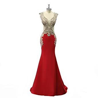 VGBRIDAL V Neck Prom Dresses Long Sweep Mermaid Evening Gowns Applique Beaded Illusion Waist Sexy Dress