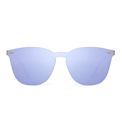 JIM HALO Rimless Sunglasses One Piece Mirror Reflective Eyeglasses for Men Women (Matte Transparent/Mirror Light Purple)