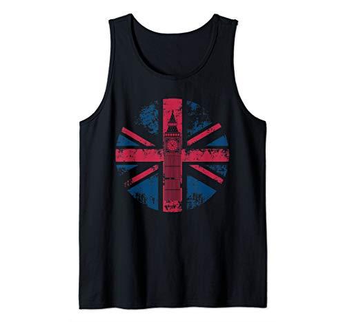(London Big Ben Union Jack Vintage UK Flag British Art Gift Tank Top)