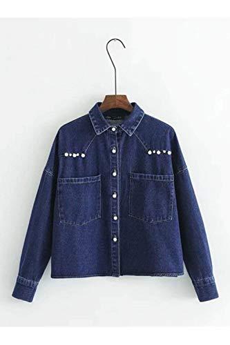 Blau Lunga Tempo Outerwear Donne Battercake Bavero Base Primaverile Moda Jacket Donna Casuale Blu Libero Manica Jeans Giovane Eleganti Autunno Stile Giacca Fidanzato wzO1C
