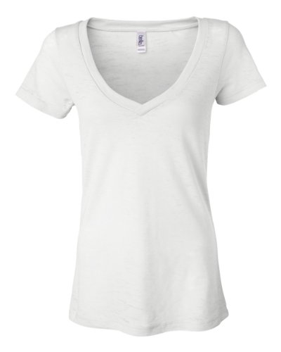 Bella Ladies Simone Burnout V-Neck Short- Sleeve T-Shirt. 8605 - Small - White