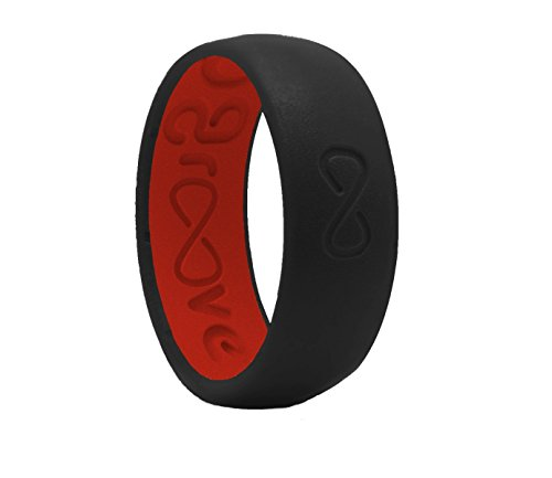 Groove Life - Groove Ring The World's First Breathable Silicone Ring Original (Midnight Black/Raspberry Red) (Size 14)