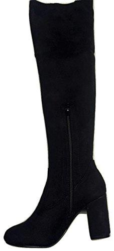 Black Suede Effect Microfibre Sturdy Heel Over Knee Boots WMPzSYIku