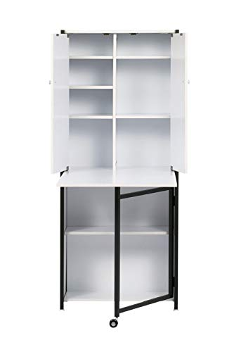 Offex Multipurpose Storage Craft Armoire - Charcoal/White